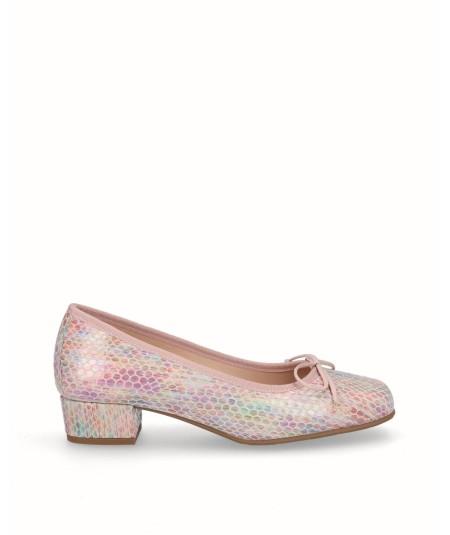 Zapato francesita tacon piel serpiente multi