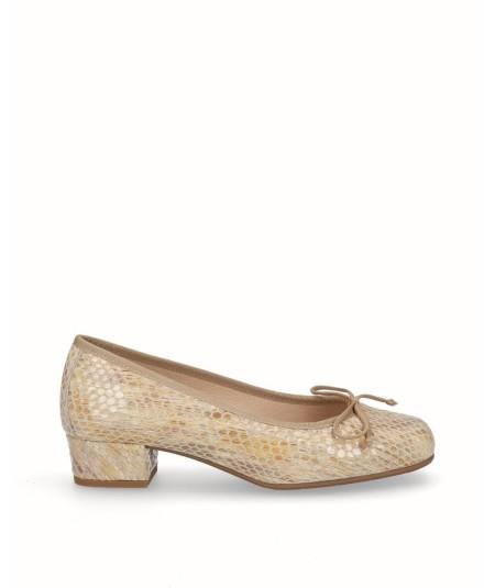Zapato francesita tacon piel serpiente tostado
