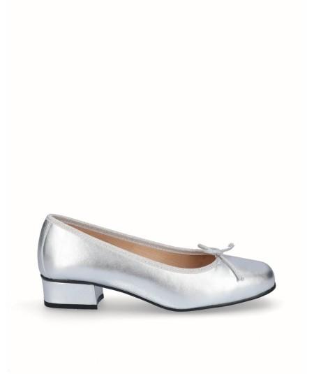 Zapato bailarina tacón piel plata