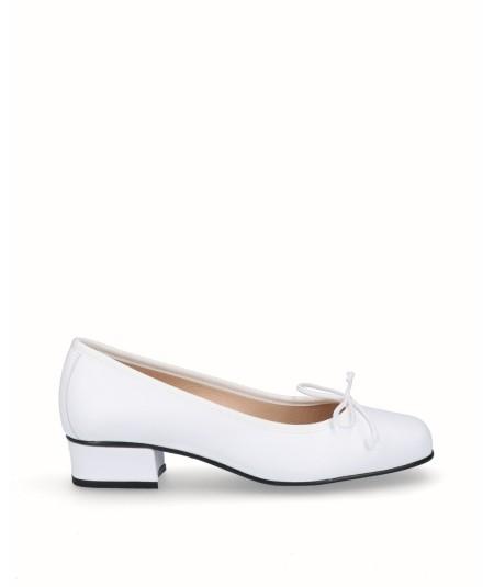 Zapato bailarina tacón piel blanco