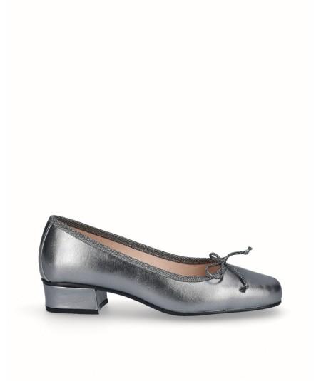 Zapato bailarina tacón piel plata vieja