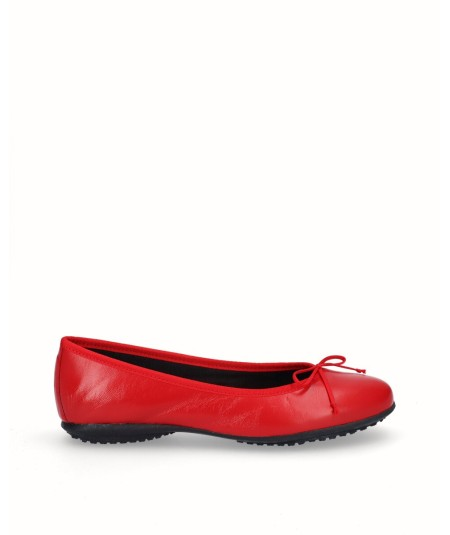 Zapato bailarina francesita piel roja
