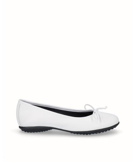 Zapato bailarina francesita piel blanco