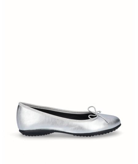 Zapato bailarina francesita piel plata