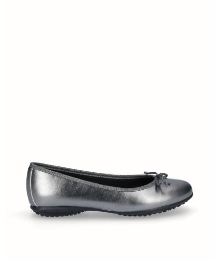Zapato bailarina francesita piel plata vieja