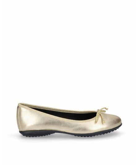 Zapato bailarina francesita piel oro