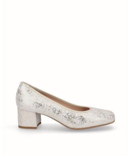 Zapato salon piel fantasia serpiente beig-oro
