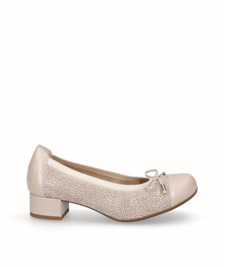 Zapato tacón bailarina con plantilla extraíble piel nacarada beig