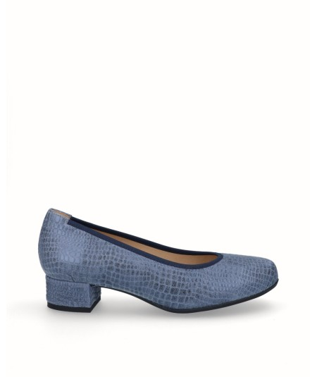 Zapato tacon salon piel caiman fantasia azul marino