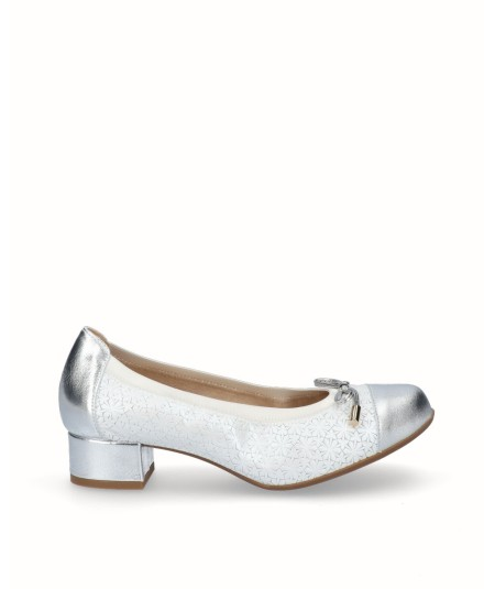 Zapato tacon bailarina piel nacarada blanco