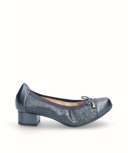 Zapato tacon bailarina piel nacarada azul marino