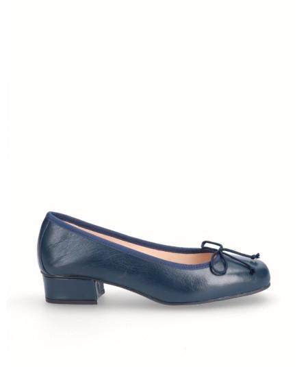 Zapato bailarina tacón piel marino