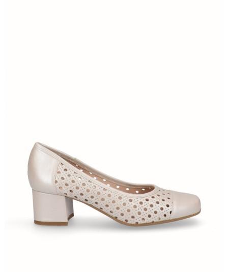 Zapato salón piel nacarada perla beig crema