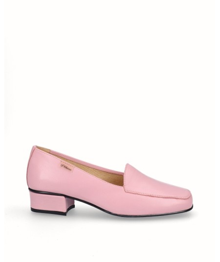 Pink leather high heel moccasin shoe