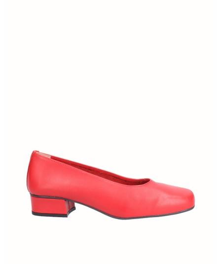 Zapato salón tacón piel rojo