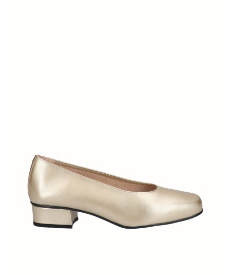 Gold leather high heel shoe