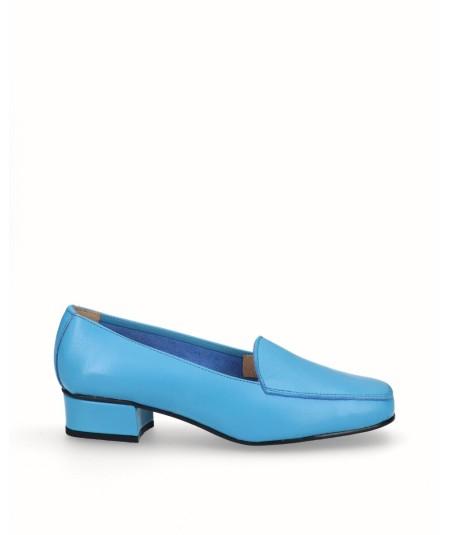 Zapato mocasín tacón piel azul turquesa