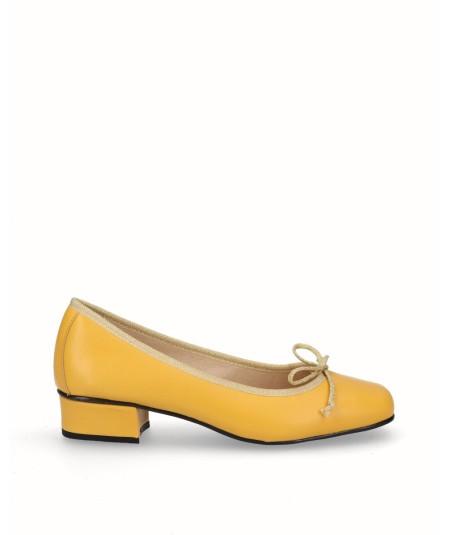 Zapato bailarina piel amarillo