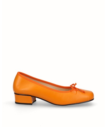 Orange leather ballerina shoe