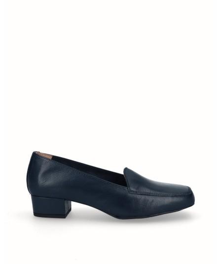 Navy blue leather heeled moccasin shoe