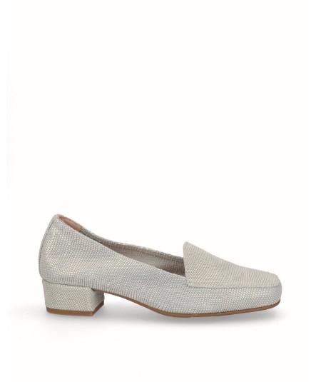 Zapato mocasín tacón piel fantasía beig oro