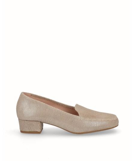 Zapato mocasín tacón piel fantasía arena oro