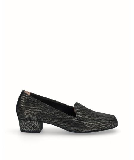 Zapato mocasín tacón piel fantasía negro oro