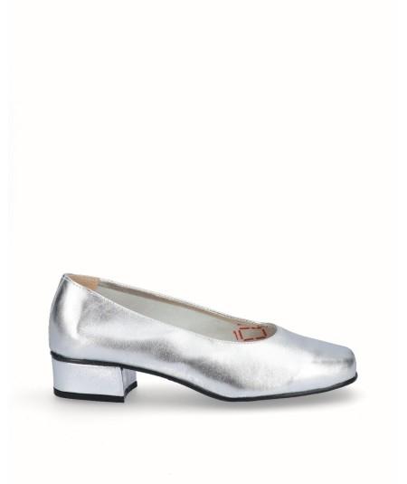 Zapato salón tacón piel plata