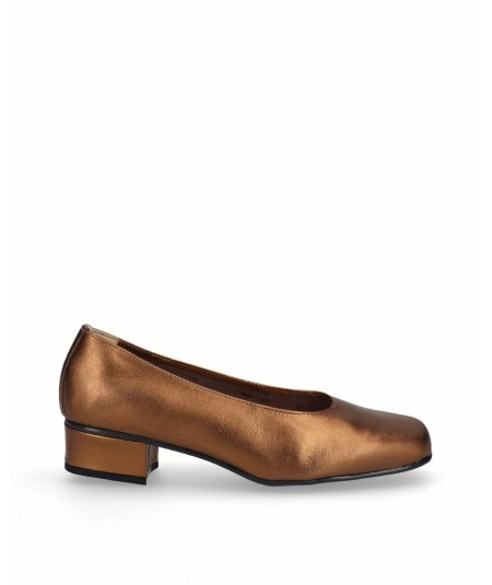 Bronze leather high heel shoe