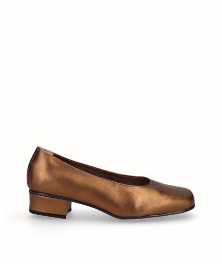 Zapato salón tacón piel bronce