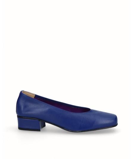 Zapato salón tacón piel azul francia