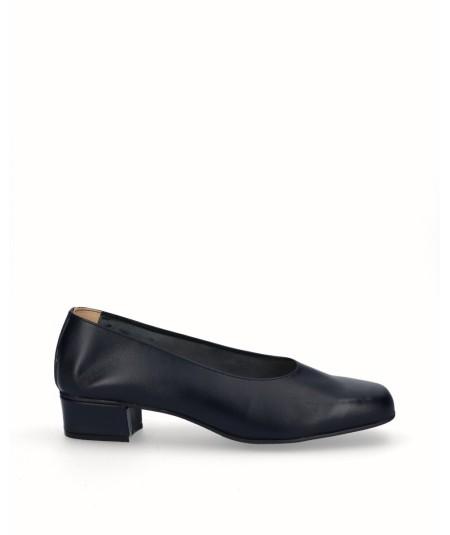 Zapato salón tacón piel azul marino