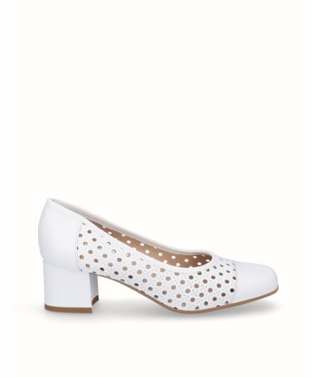 Zapato salón piel picado blanco