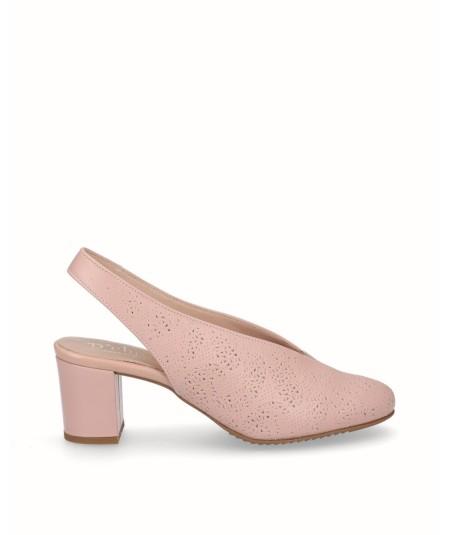 Zapato tacón destalonado picado piel rosa palo