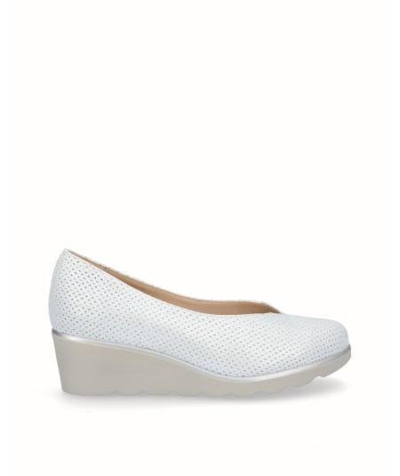 Zapato cuña piel picada fantasia blanco