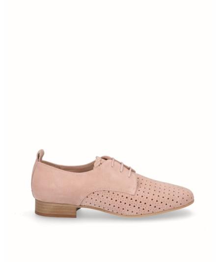 Zapato blucher picado piel rosa palo