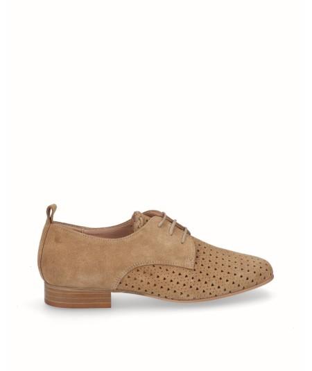 Zapato blucher picado piel camel