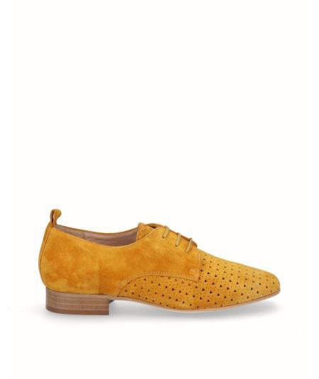 Zapato blucher picado piel mostaza amarillo anaranjado