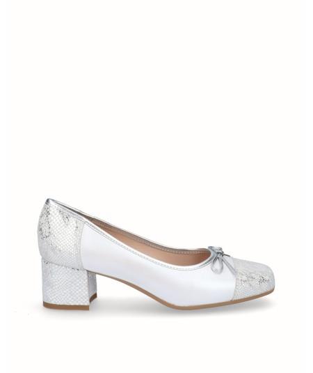 Zapato tacon bailarina piel perlada combinada confantasia serpiente blanco