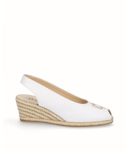 Peep toes espadrille with white jute wedge