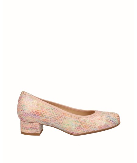 Multicolored snake engraved leather high-heeled shoe