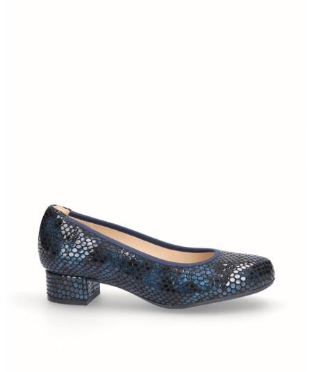 Zapato tacón salón piel grabado serpiente azul
