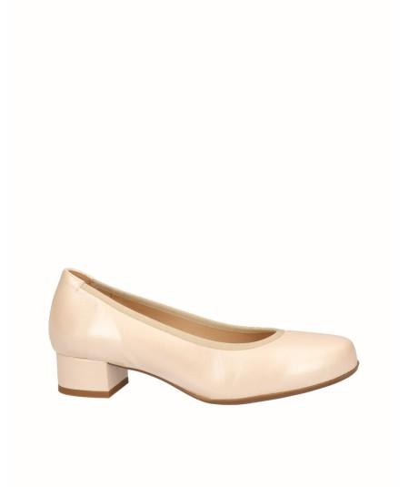 Zapato tacón salón piel nacarada oro