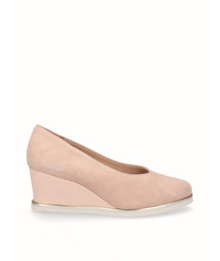 Zapato cuña salón piel serraje rosa