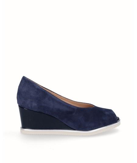 Zapato peep toes cuña salón piel serraje azul marino