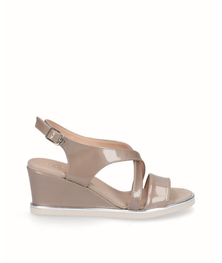 Beige patent leather wedge sandal