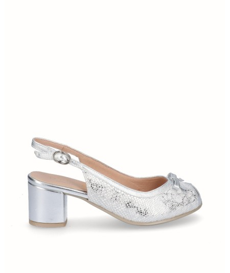 Peep toes white leather high heel shoe combined silver