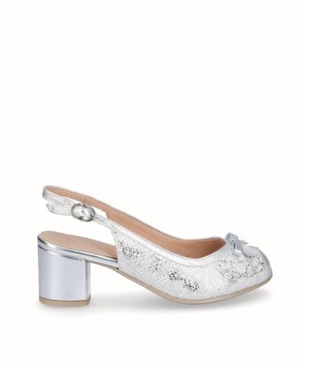 Zapato tacón peep toes piel blanco combinado plata