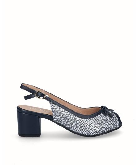 Navy blue fantasy leather peep toes high heel shoe