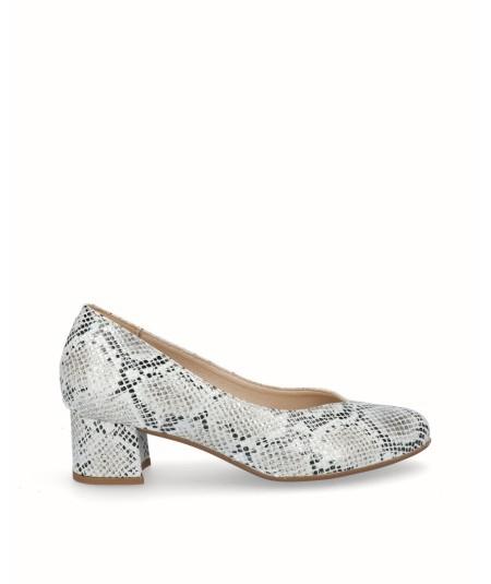 Zapato salón tacón piel grabado serpiente blanco
